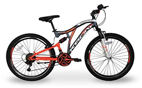 5.0 Bici Bicicletta MTB Ares Kron 24'' Pollici BIAMMORTIZZATA 14 Velocita' Shimano Mountain Bike REVO (Arancione)