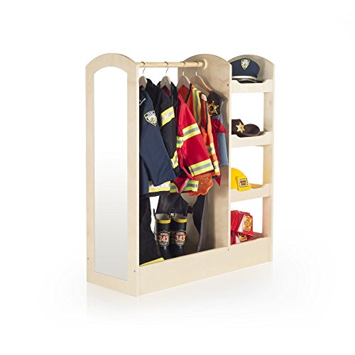 Guidecraft See and Store Dress-up Center – Natural: Armoire for Kids with Mirror & Shelves, Clothes Rack and Shoe Storage Dresser with Bottom Tray - Toddlers Room Furniture