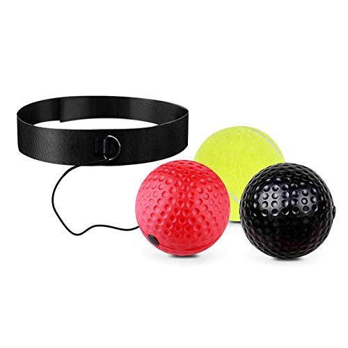 Boxing Reflex Ball Set - 3 Difficulty Level Balls with Comfortable Headband, Suit for Reaction, Agility, Punching Speed, Fight Skill and Hand Eye Coordination Training