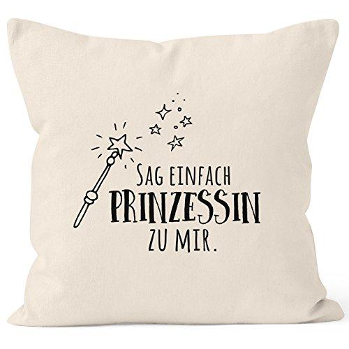 MoonWorks® Kissenbezug mit Spruch, sag einfach Prinzessin zu Mir, Kissen-Hülle aus Baumwolle, 40x40 Natur Unisize