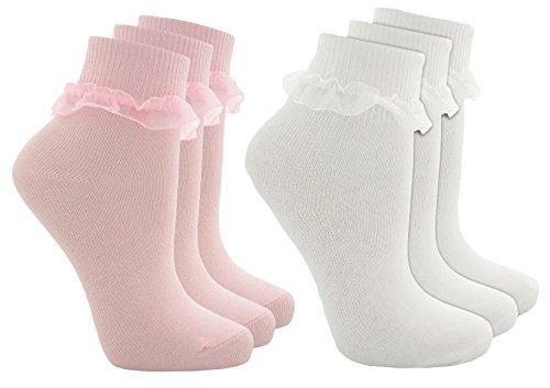 Chaussettes en coton à volants en dentelle pour fille - - Large