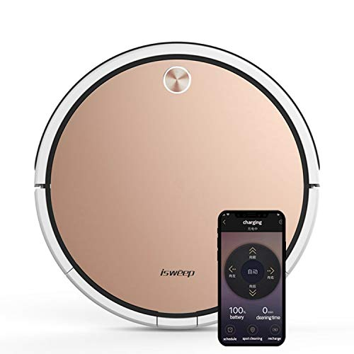 ISWEEP X3,1800Pa Suction Robot Vacuum Cleaner,2-in-1 Mopping,WiFi Sweeping Vacuuming Robot, Big 500ml Dustbin,Automatic Self-Charging Robotic Vacuum,Ideal for Pet Hair,Hard Floor & Carpets(Gold) Dining Features Kitchen Robotic Vacuums