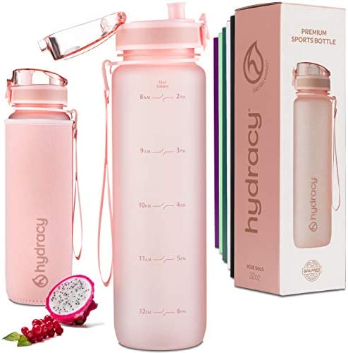 Hydracy Water Bottle with Time Marker Large 1 Liter 32 Oz BPA Free Water Bottle Leak Proof No product image
