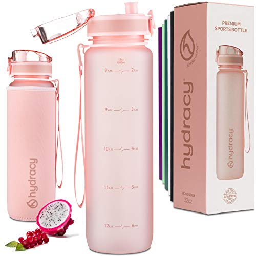 Hydracy Water Bottle with Time Marker - Large 1 Liter 32 Oz BPA Free Water Bottle -Leak Proof & No Sweat Gym Bottle with Fruit Infuser Strainer -Ideal Gift for Fitness or Sports & Outdoors - Rose Gold