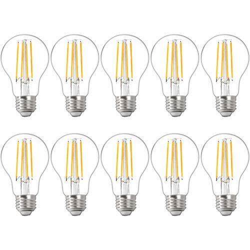 10Pack A19 LED Light Bulbs,6W Equivalent 60W, 810LM Brightness,2700K Soft Warm White, E26 Base, Non Dimmable