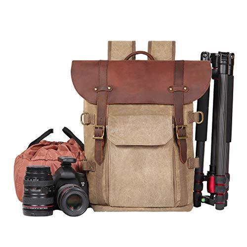 AHWZ Kamera Rucksack, SLR Camera Bag Waterproof Batik Canvas Retro Fashion Digital Camera Backpack (Gelb)