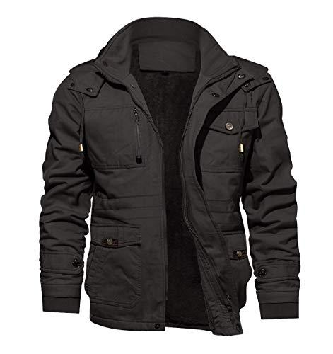 KEFITEVD - Parka de invierno para hombre, forrada, con capucha extraíble, chaqueta de entretiempo, militar, con cuello alto 04 gris oscuro. XL