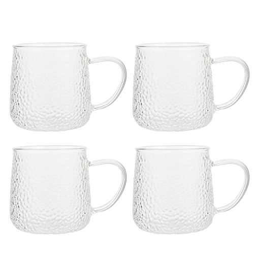 Hemoton 4 Unidades de Vaso para Beber Taza de Té Transparente Tazas de Café Vasos a La Antigua Taza de Vidrio para Bebidas Taza de Leche para Zumo Vino Espresso