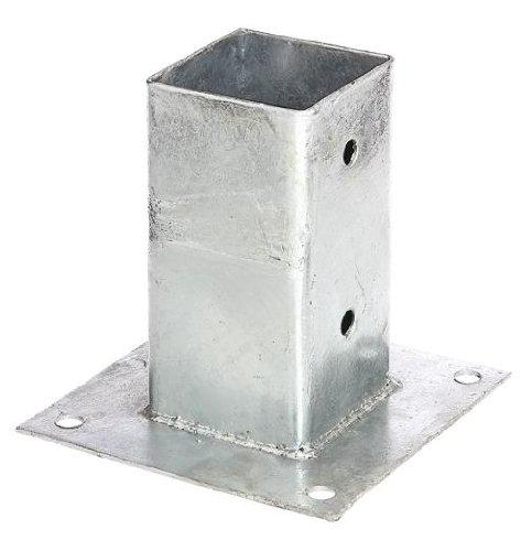 GAH-Alberts 211615 Ancre sur platine pour poteaux 71 x 71 mm | Acier brut, galvanisé à chaud | à visser