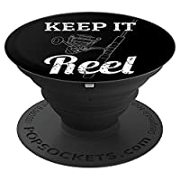 Keep It Reel Deep Sea Fishing Pun Gifts Saltwater Fish Dad PopSockets Grip and Stand for Phones and Tablets