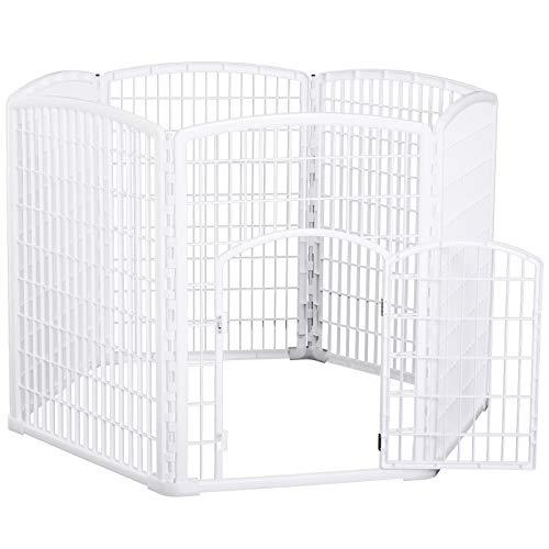 Pawhut Welpengitter Freilaufgehege Laufstall für Haustiere mit Tür 6 Teile sechseckig PP-Kunststoff rostfrei Weiß Ø135 x H95 cm