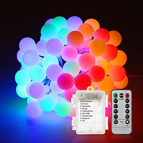 Guirlande lumineuse,Tomshine10M 80 ampoule,8 Modes avec télécommande, étanche IP44, Luminosité réglable, 0.6W LED à Piles Petites Boules, Alimenté par batterie[Classe énergétique A+] (Multicolore)