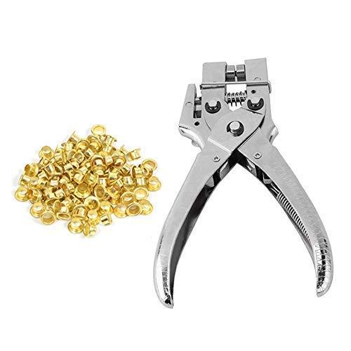 Trimming Shop Stahl-Ösenzange mit 100 Stück 4 mm Messing-Ösen und Unterlegscheiben für Planen, Kleidung, Lederarbeiten, Scrapbooking, Lochung