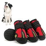 Hmpet Zapatos Impermeables para Perros, Botas para Perros con protección para Las Patas para Zapatos Antideslizantes Suaves Tienen Correas Reflectantes para Perros pequeños,Rojo,3#5cm