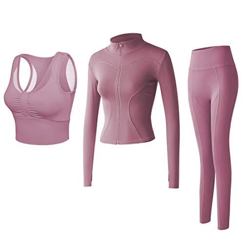 Conjunto Yoga 3 Piezas Ropa Fitness Entrenamiento, Top Pantalones y Chaqueta de Yoga Súper Elásticos. Leggings+Bralette para Mujer+Chaqueta de Manga Larga Mujer (Rosa, M)