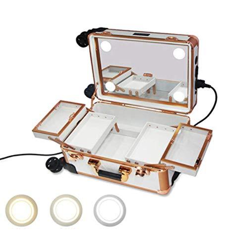 Maquillage Trolley 2-in-1 Lumières intégrées à LED - 3 couleurs de lumière - Pieds réglables - Rotation à 360 ° 4 roues - Trolley roulant à roulettes,White,29x22.5x40cm
