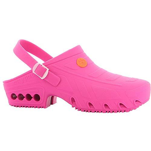 Oxypas Oxyclog - Zueco de Trabajo para Hombre - Ligero autoclavable Zapato de Trabajo para Hombre, Ideal para la Salud, Antideslizante, antiestático y Absorbe los Golpes, Color Rosa