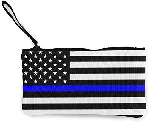 naotaori Thin Blue Line Blue Lives Matter Flag.PNG Monedero de Lona para Mujer Mini Change Wallet Pouch-Card Holder Phone Wallet Storage Bag Pencil Pen Case Casual Daypacks'
