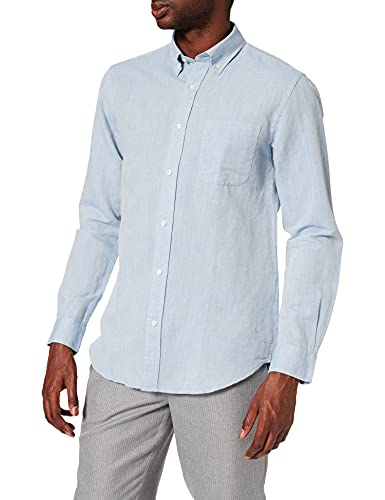 Cortefiel Camisa Manga Larga DE Lino Y ALGODÓN, Azul Medio, XL para Hombre