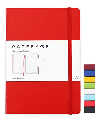 Paperage Lined Journal Notebook, Hard Cover, Medium 5.7 x 8 inches, 100 gsm Thick Paper (Red, Ruled)