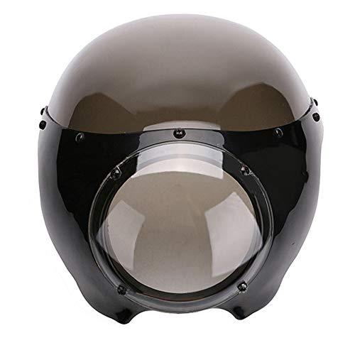 CHUDAN Retro Motorrad Lampenschutzgitter Scheinwerferschutz Motorrad-Zubehör Universal Rektifizierende Hood Schwarz Windschutzscheibe Frontverkleidung