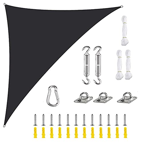 SYGoodBUY Toldo de vela rectangular, impermeable, 95 % de protección solar, con protección solar, para jardín, playa, patio, color naranja, con kit de fijación (color: negro, tamaño: 5 x 5 x 5 m)