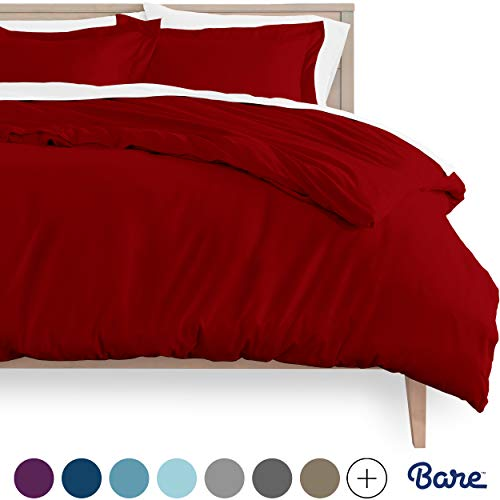 Bare Home Duvet Cover and Sham Set - Twin/Twin Extra Long - Premium 1800 Ultra-Soft Brushed Microfiber - Hypoallergenic, Easy Care, Wrinkle Resistant (Twin/Twin XL, Red)