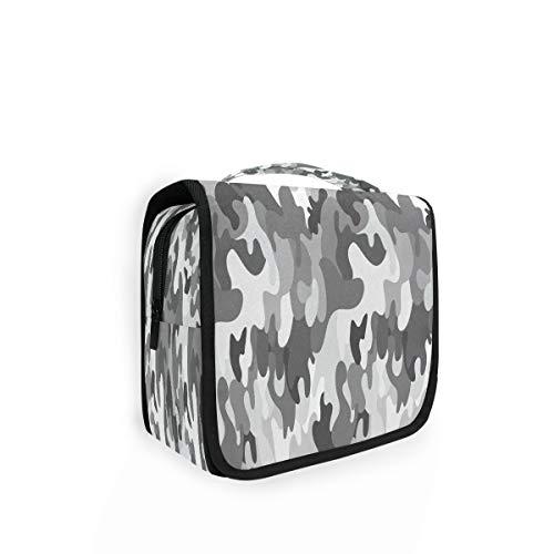 Kulturtasche zum Aufhängen, Camouflage, grau, Organizer, Kulturbeutel, Kosmetiktasche, Reisetasche mit 4 Fächern für Frauen
