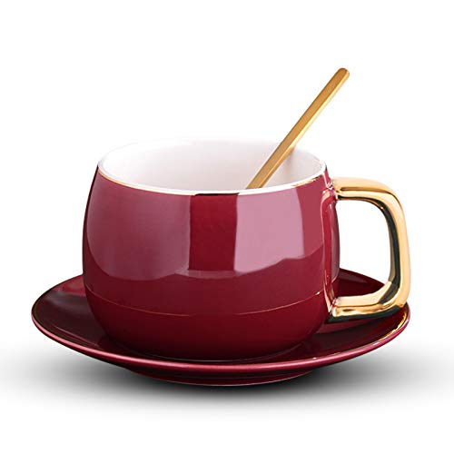 Tazas para niños De estilo europeo de café y tazas de las tazas de té con el platillo y el accesorio de oro de cerámica taza perfecta Gifting cuchara conjunto creativo de lujo y Captación, 9,5 oz taza