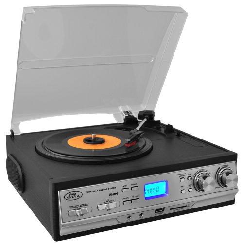 Pyle versión actualizada retro tocadiscos – con altavoces, reproductor de grabación inalámbrico, reproductor de grabación convertir vinilo a Mp3, reproductor de casete AUX con radio FM/AM, USB/SD, adaptador de 45 RPM, velocidad 33, 45, 78 RPM (PTTCS9U)
