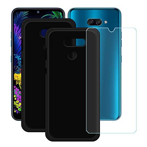 YZKJ Capa para LG K12 Max + película protetora de vidro temperado – [2 unidades] capa de proteção de silicone TPU preta flexível em gel macio para LG K12 Max (6,2 polegadas)