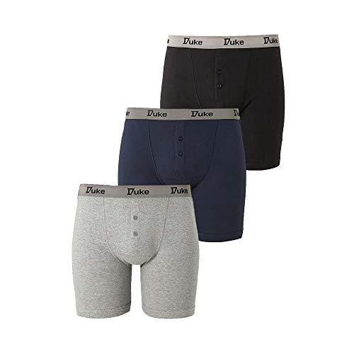 Duke London Herren Driver Boxer Shorts (3 Stück) (XX-Large) (Schwarz/Grau/Weiß)