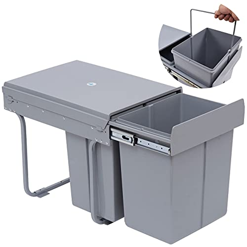 Nisorpa 40 Liter   10.6 Gallon Dual Pull Out Trash Cans Under Cabinet Counter Sink with Lid - Commercial Garbage Can Recycling Container Kitchen Waste Bins - Soft-Close Slides & Fixed Base, Gray