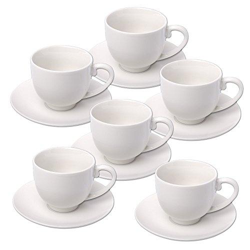 Schramm® Espressotassen Set 12-teilig 6 Espresso Tassen mit 6 Untertassen 75 ml Espressotassenset Kaffee Tassen Tasse Set