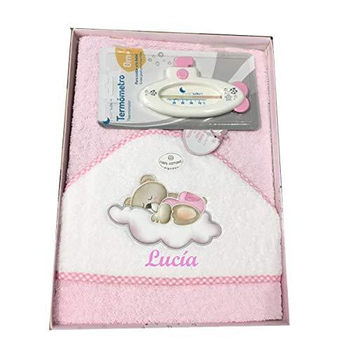 Capa de baño para Bebe BORDADA con nombre. Modelo Osito luna. Capas y toallas bebe regalos bebe (Rosa)