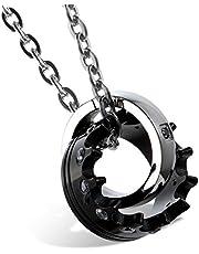 Flongo par Collar de Acero con Colgante Corona Imperial Negro cifra de Plata