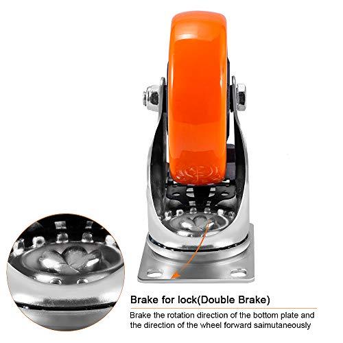 41nN2U3wOnL. SL500  - D&L Ruedas giratorias de 5 pulgadas, 1500 libras, ruedas de alta resistencia con freno de poliuretano, juego de 4 ruedas de bloqueo doble, naranja DL-I5-001