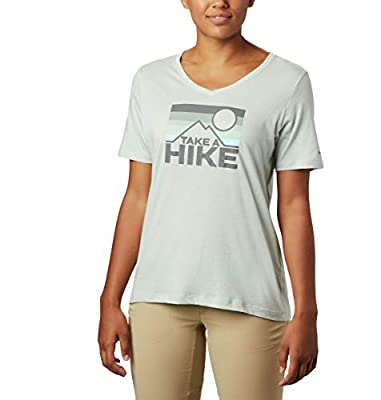 Columbia Women's Plus Size Mount Rose Relaxed Tee Shirt, Jersey Cotton Blend, Cool Green Heather/Linear Hike, 2X