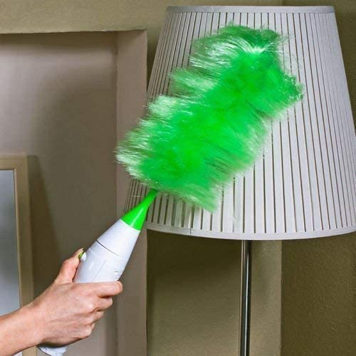 Natvar creation Electric Home Cleaning Feather Duster Electronic Mortised Cleaning Brush Set 360 Degree Rotating Brush for Home Office Car Green