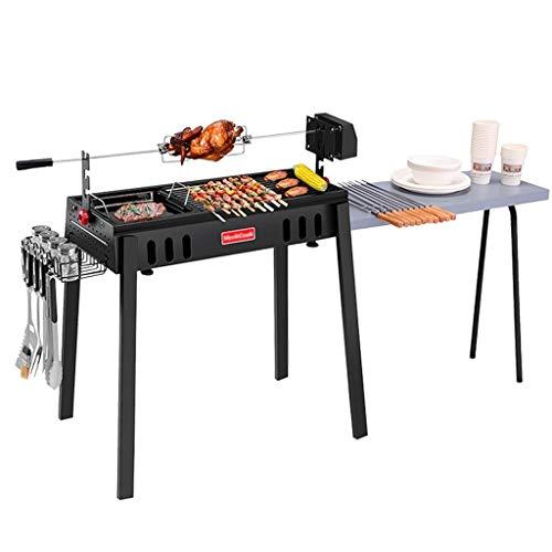 Qazxsw Barbecue-Ofen,Charcoal Außen Barbecue Grill Haushalt Grill Folding Eindickung Ofen Maxi-Workbench Folding Tragbarer Leicht Zu Reinigen,Schwarz,155 * 50 * 85cm