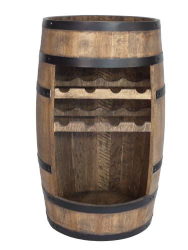 Weinfass Stehtisch - Mini Bar Regal mit Wine Bottle Holder- Alkohol Shrank - Flaschenregal Holz Regale - Holzfass Deko Hausbar Theke - Fassmöbel - 8X Flashenhalter - Fassbar Minibar 80cm (Wenge)