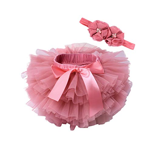 Robe Baby Girl Tutu Skirt 2Pcs Tulle Lace Bloomers Diaper Cover Newborn Infant Outfits Headband Flower Set Baby Mesh Bloomer-Watermelon-24Months