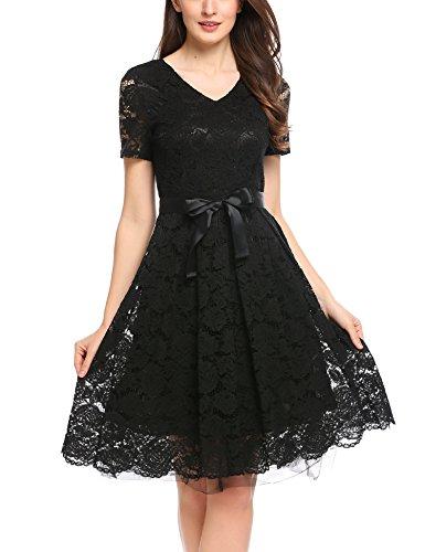 ACEVOG Damen Spitzenkleid Knielang elegant A Linie mit Arm Hochzeit Cocktailkleid Abendkleid Partykleid Abschlusskleid Ballkleid (M (Herstellergröße: EU 36), Schwarz 3)