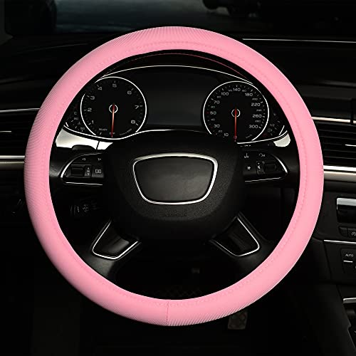 ZHOL Universal 15-inch ice Silk Steering Wheel Cover, Breathable, Non-Slip, odorless, Warm in Winter, Cool in Summer, Pink,