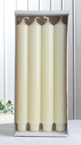 4x Stabkerze mit Zapfenfuß / Punchkerze, 25x3 cm, elfenbein