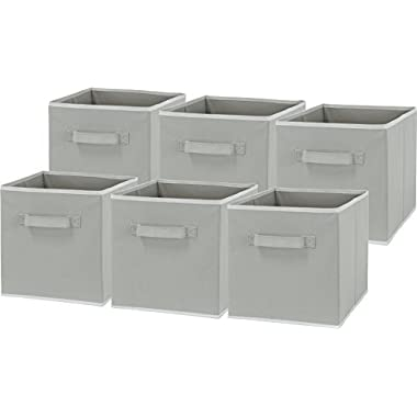 6 Pack - SimpleHouseware Foldable Cube Storage Bin, Grey