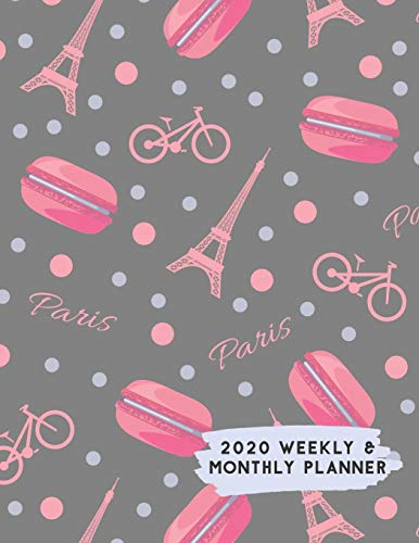 2020 Weekly & Monthly Planner: Bike Paris with Pink Macaroons Themed Calendar & Journal