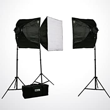 oldzon Studio-x3 Photography Video 3 Softbox Boom Stand Continuous Lighting Kit with Ebook