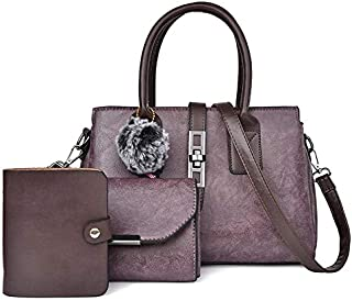WTYD Single Shoulder Bag 3 in 1 Casual PU Shoulder Bag Ladies Handbag Messenger Bag with Plush Ball (Color : Purple)