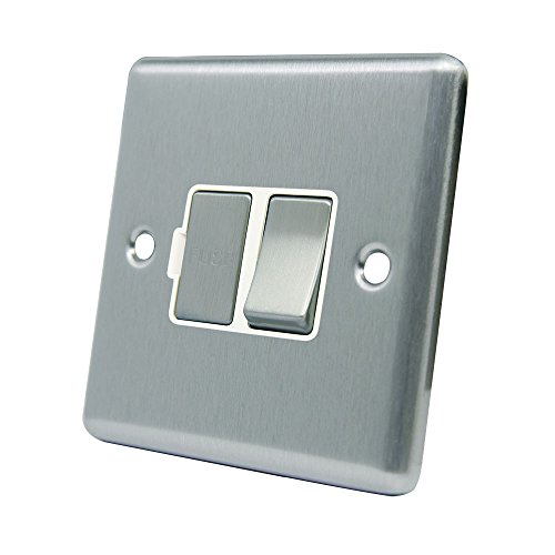 AET CSCSFSWS Satin Chrome Classical Spur White Insert Metal Rocker Switch-13 Amp Switched Fused Connection Unit